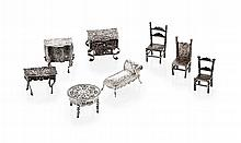 A collection of Dutch 19th century miniature silver furniture Chaise length: 60mm, combined weight: 194g