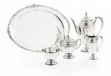 A good quality plated coffee service Coffee pot height: 26cm