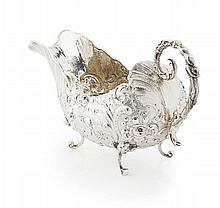 A Dutch mid 19th century silver sauce boat Overall length: 17cm, 6oz