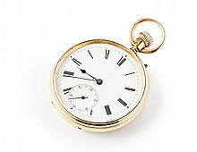 An 18ct gold cased pocket watch Dial diameter: 43mm