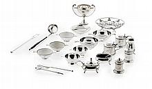 A collection of condiments and other small silver Weighable silver: 21oz