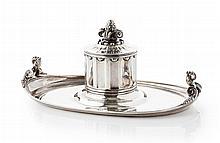 GEORG JENSEN - A silver table inkstand Width: 24.5cm, 19oz