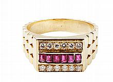 A gentleman's diamond and ruby set ring Ring size: S