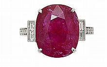 An 18ct gold, ruby and diamond set ring Ring size: K-L, estimated total ruby weight: 5.64cts