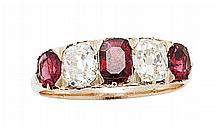 A ruby and diamond set ring Ring size: P