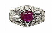 A 1930s French ruby and diamond set ring Ring size: M
