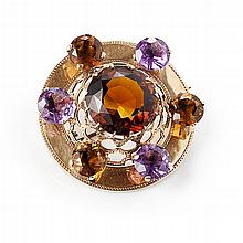 A Scottish gem set brooch Diameter: 47mm