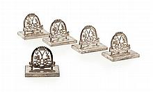 ARGYLL & SUTHERLAND HIGHLANDERS - A SET OF FIVE MENU HOLDERS Width: 5cm, each 3.5oz