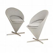 VERNER PANTON (1926-1998) FOR VITRA TWO 'CONE' CHAIRS, DESIGNED 1958 each 59cm wide, 81cm high, 47cm deep