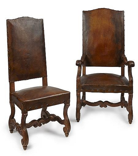 SET OF FOURTEEN LOUIS XIV STYLE WALNUT AND LEATHER CHAIRS 19TH CENTURY 127cm high, 55cm wide, 45cm deep