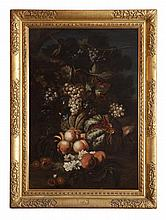 CIRCLE OF SIMONE DEL TINTORE (ITALIAN 1630-1708) STILL LIFE WITH PEACHES, GRAPES AND MELONS 102cm x 72cm (40in x 28.25in)
