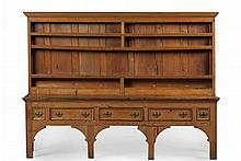 GEORGE III AND LATER PINE DRESSER 18TH CENTURY WITH ALTERATIONS 252cm wide, 191cm high, 61cm deep