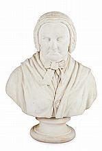 JAMES ALEXANDER EWING (SCOTTISH 1843-1900) WHITE MARBLE BUST OF AN OLD WOMAN 66cm high