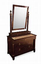 FRENCH EMPIRE MAHOGANY DRESSING TABLE IN THE MANNER OF JACOB EARLY 19TH CENTURY 113cm wide, 198cm high, 55cm deep