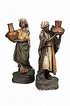 PAIR OF AUSTRIAN PAINTED TERRACOTTA FIGURES, BY JOHANN MARESCH LATE 19TH CENTURY 59cm and 59.5cm high