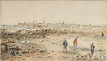 19TH CENTURY PROVINCIAL SCOTTISH SCHOOL THE OLD COURSE, ST ANDREWS 21cm x 33.5cm (8.25in x 13.25in)