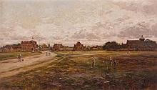 ALLAN RAMSAY (SCOTTISH 1852-1912) EDZELL FROM THE NORTH FROM EDZELL MUIR 25cm x 44.5cm (9.75in x 17.5in)