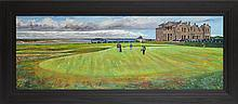 § STEPHEN SHANKLAND (SCOTTISH BORN 1971) THE 18TH GREEN, OLD COURSE, ST. ANDREWS 50cm by 139cm