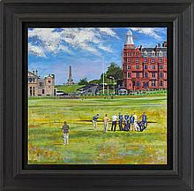 § STEPHEN SHANKLAND (SCOTTISH, BORN 1971) THE 18TH HOLE, OLD COURSE, ST ANDREWS 43cm by 43cm