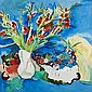 § PHILIP SUTTON R.A (BRITISH B.1928) GLADIOLI WITH FRUIT 127cm x 127cm (50in x 50in)