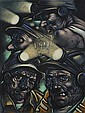 § PETER HOWSON O.B.E (SCOTTISH B.1958) MINERS 61cm x 46cm (24in x 18in)