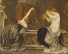 ROBERT ANNING BELL R.A., R.W.S., N.E.A.C. (SCOTTISH 1863-1933) WOMEN BY A FOUNTAIN 15cm x 18cm (6in x 7in)