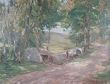 HARRY MACGREGOR (SCOTTISH FL.1894-1935) ROADSIDE CAMP 56cm x 74cm (22.5in x 29.5in)