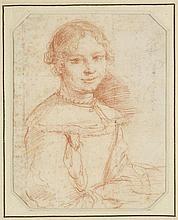 ATTRIBUTED TO CESARE GENNARI (ITALIAN 1637-1688) PORTRAIT OF A GIRL 16cm x 12.8cm (6.5in x 5in)