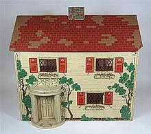 WOODEN PAINTED DOLLS HOUSE