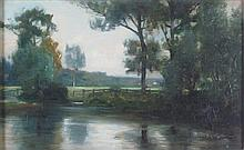19TH CENTURY EUROPEAN SCHOOL TREES BY THE RIVER 24.5cm x 39.5cm (9.75in x 15.5in)