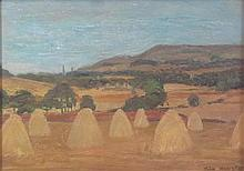 FOLLOWER OF JOHN HOUSTON HARVEST LANDSCAPE 35.5cm x 51cm (14in x 20in)