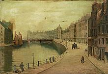 ALEX BURKE (19TH/20TH CENTURY SCOTTISH SCHOOL) WATER OF LEITH 44.5cm x 65cm (17.5in x 25.5in)