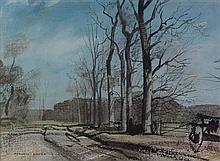 § ROWLAND HILDER O.B.E. (BRITISH 1905–1993) SUSSEX LANE IN WINTER 25cm x 34.5cm (9.75in x 13.5in)