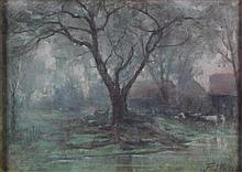 § FREDERICK HALL (BRITISH 1860-1948) AN AUTUMN LANDSCAPE 24.5cm x 34.5cm (9.5in x 14.5in)