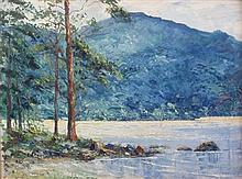 § FERGUS O'RYAN R.H.A. (IRISH 1911-1989) WATERS EDGE, TORC MOUNTAIN, KILLARNEY 40cm x 56cm (16in x 22in)