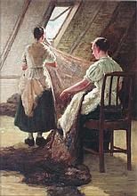 ROBERT NOBLE R.A., R.S.A. (SCOTTISH 1857-1917) MENDING THE NETS 34cm x 24cm (13.5in x 9.5in)