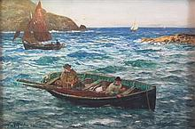 JOHN ROBERTSON REID R.B.A., R.O.I., R.I. (SCOTTISH 1851-1926) FISHING BOATS OFF POLPERRO, CORNWALL 35cm x 52cm (14in x 20.5in)