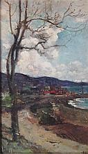 ROBERT NOBLE R.A., R.S.A. (SCOTTISH 1857-1917) ROAD BY THE SHORE 22cm x 13cm (8.5in x 5in)