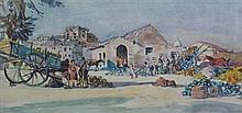 § JAMES MCINTOSH PATRICK R.S.A., R.O.I., A.R.E., L.L.D (SCOTTISH 1907-1998) THE MELON MARKET, CAPUA 19cm x 40cm (7.5in x 15.75in)