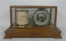 OAK CASED BAROGRAPH, BEARING PLAQUE FOR ROBERT BALLANTINE, GLASGOW 37cm wide