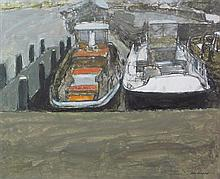 § ALEX CAMPBELL R.S.A., R.S.W., S.S.A., S.W.L.A. (SCOTTISH B. 1932) BARGES TIED UP 29cm x 36cm (11.5in x 14.25in)