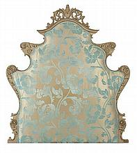 FRENCH STYLE OVER PAINTED UPHOLSTERED HEADBOARD 131cm wide, 146cm high