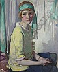 DAVID ALISON R.S.A., R.P. (SCOTTISH 1882-1955) SEATED PORTRAIT OF VIOLET ANDERSON AS A GIRL 76cm x 63cm (30in x 25in), David Alison, Click for value