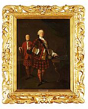 CIRCLE OF JOHN ALEXANDER (FL.1710-1757) A FULL LENGTH PORTRAIT OF ALASDAIR RUADH MACDONELL, 13TH CHIEF OF GLENGARRY 68.5cm x 51cm (2...