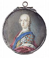 AN 18TH CENTURY PORTRAIT MINIATURE, AFTER SIR ROBERT STRANGE PRINCE CHARLES EDWARD STUART, C.1749 6.5cm (2.75in) diameter, circle
