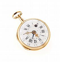 An 18th century gold open faced pocket watch dial 40mm diameter