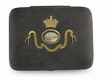 A mid Victorian velvet casket, set with a memoriam locket of Mary Queen of Scots hair 15.5cm x 12cm x 9cm