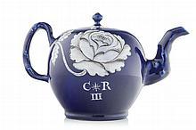"An important Jacobite ""King Charles III"" salt glazed teapot circa 1766 14cm high"