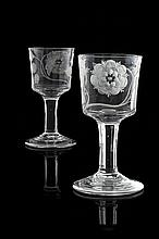 A scarce pair of large Jacobite ale glasses 16.5cm high