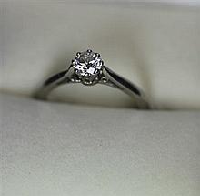 A single stone diamond ring Ring size: M, estimated diamond weight 0.47cts